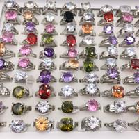 sevimli nişan yüzükleri toptan satış-Marka Yeni Sevimli Büyük Kübik zirkonya Gümüş Kaplama Jewlery Yüzükler Kadınlar Düğün Nişan Parti Hediye Için