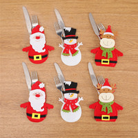 Wholesale thinning knife for sale - Christmas Tableware Knife Fork Tableware Cover Case Santa Claus Snowman Reindeer Bear Deisgn Cover Case Decorations Drop Ship
