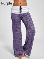 Wholesale yoga pants europe for sale - Group buy Europe Fashion Women Yoga Pants Mutilcolor Wide Leg Pants Women Patchwork Casual Loose Capris Pants S XL size