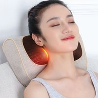 Wholesale infrared vibration massager resale online - Body Kneading Cushion Electric Pillow with Vibration Function Massager Shoulder Neck Cervical Waist Multi function Household Neck Pillow