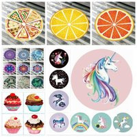 Wholesale cartoon shawl - 42 Styles Unicorn Mandala Beach Towel Ice Cream Elephant Printed Round Picnic Mat Swimming Bath Towels Cartoon Shawl Yoga Mat CCA9745 30pcs