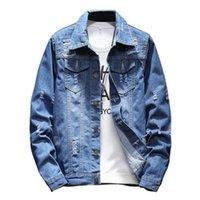 más el tamaño de chaquetas de jean azul al por mayor-Abrigos de moda de otoño Chaqueta de mezclilla para hombre Manga larga Azul Hombres Agujero Jean Chaquetas Talla grande M-5XL
