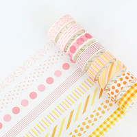 Wholesale printed washi tape - 2016 24 pcs Lot Rainbow color washi tape set 15mm*7m paper masking tapes Line & Dot prints stickers Stationery School supplies A6871