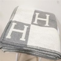 Wholesale hand woven throw for sale - Group buy Luxury Signature H tag Thicken Wool Blanket Home Travel Winter Scarf Shawl Warm Everyday Blankets Large cm Christmas gift blanket