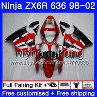 zx6r kırmızı toptan satış-KAWASAKI NINJA Fabrika için ZX-6R kırmızı ZX-636 ZX636 ZX6R 98 99 00 01 02 212HM.26 ZX600 600CC ZX 6R 636 6 R 1998 1999 2000 2001 2002 Fairing