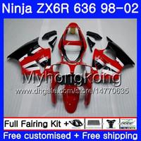 Wholesale 1998 kawasaki ninja zx6r resale online - ZX R For KAWASAKI NINJA Factory red ZX ZX636 ZX6R HM ZX600 CC ZX R R Fairing