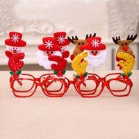 çerçeveli süsler toptan satış-Noel Çerçeve Gözlük Süsler Kardan Adam Santa Caus Gözlük Yetişkin Çocuk Güneş Gözlüğü Noel Hediye Parti Süslemeleri Sahne