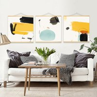 Wholesale Modern Wall Art Paintings Zen Color Chinese Ink Abstract Buddhist Color Block Canvas Print with Wooden Hanger for Home Bathroom Decoration