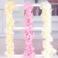 coronas de bricolaje al por mayor-flores de seda artificial Hydrangea Wisteria Garland vine party decoraciones de la boda guirnaldas de seda flores falsas glicina de seda DIY corona de pared