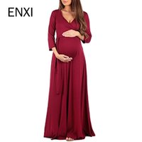 Wholesale maternity clothes for summer resale online - ENXI Maternity Clothing Soft Dress Clothes For Pregnant Women Maternity Dresses Long Dresses Pregnancy Women s Dress Summer