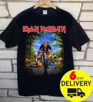 ingrosso vestiti da ragazza-Iron Maiden Tour De France 2018 T-Shirt Rare nero all'ingrosso manica corta Full Size Fashion Classic Abbigliamento T-Shirt Funny Print Top Uomo