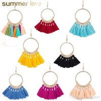 Wholesale earring statement tassel for sale - Group buy 9 Colors Trendy Ethnic Bohemian Tassel Earrings For Women Handmade Jewelry Colorful Big Hoop Statement Earrings For Girl Gifts Newest