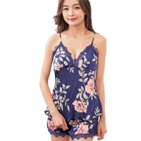 Summer Ladies Sleepwear New Print Floral Cami Shorts Sleep Set Faux Silk Pajamas  Pijamas V-Neck Sexy Nightwear Lingerie Suit 6f135ab17