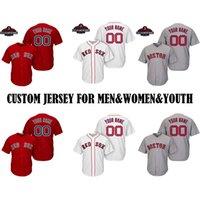 a medida que el jersey al por mayor-Hombres Boston Red Sox 2018 Campeones de la Serie Mundial Parche Redsox por Encargo Dustin Pedroia Mookie Betts J.D. Martínez Béisbol Jersey
