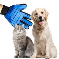 ingrosso guanti da massaggio in silicone-Guanto in silicone per animali domestici Guanto per animali domestici Grooming Guanti per massaggi per la pulizia dei capelli Forniture per cani per cani Spazzola per pulire i peli del cane di cane Pettine A01
