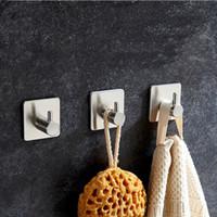 paslanmaz çelik giysi kancaları toptan satış-3 M Sticker Yapışkanlı Paslanmaz Çelik Hooks Duvar Kapı Giyim Coat Hat Askı Robe Kanca Mutfak Banyo Rustproof Havlu Kanca