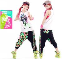 Wholesale kids hip hop dance pants - New Fashion Brand Harem Hip Hop Dance Pants Tassel Sweatpants Kids Female Stage Performance Wear Neon Jazz Trousers