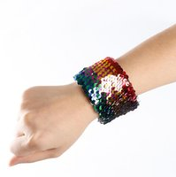 mädchen armbänder großhandel-Meerjungfrau Armband Mode Frauen Mädchen Pailletten Armband DIY Armband Stressabbau Schmuck Design Bunte Charme Partei Schmuck 2018