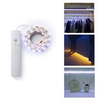 kızılötesi ışıklı şeritler led toptan satış-LED Şerit Gece Lambası IR Kızılötesi Hareket Dedektörü Sensörü 60 LED Gece Işığı Dolap Kabine Işık Lambası PIR Kablosuz Kumandalı Işık