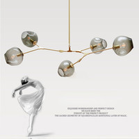 Wholesale cloth pendant light cord - Lindsey Adelman globe glass pendant lamp Branching Bubble Modern Chandelier Light for kitchen cafe cloth shop 3 5 6 7 8 9 heads