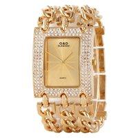 reloj dorado femenino al por mayor-Reloj de pulsera de lujo de oro de las mujeres 2017 del tiempo Rhinestone grandes relojes de las señoras Pulseras de acero de oro reloj femenino de la marca superior