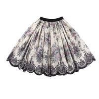 велюровые юбки оптовых-Le palais винтаж 2018FW классический кружева печатных бальное платье юбка тонкий высокий рост элегантный велюр талии сгущаться атласная юбка