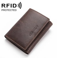 Wholesale Rfid Bags - New Fashion Casual RFID Anti-theft Leather Card Bag Quality Design Folder 3 Fold Short Male Wallet Wallet Card Holder Men's Card Package