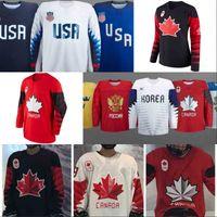 Wholesale Russia Hockey - 2018 Winter Olympics Hockey Jersey USA Russia Czech Republic Sweden Finland Team 100% Stitched Custom Ice Hockey Jerseys Free Shipping