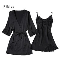 Wholesale Two Piece Lace Lingerie - Fiklyc brand two-pieces women's robe & gown sets M L XL three size for choosing luxury lingerie sets satin & lace hollow out HOT
