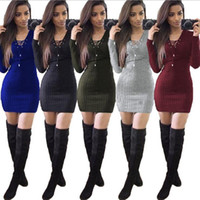 Wholesale corn prints - Autumn Winter Women Bandage Dress Playing Corns Sexy Heloma Pit Package Hip Long Sweater Women V Neck Pencial Dresses LJJO4387
