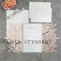 Silver and Blush Laser Cut Wedding Invitations. Blush and Silver Invites. Quince. Sweet Sixteen. DIY Invitation Kit. Glitter Invitation