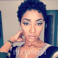pelucas rizadas apretadas al por mayor-100% cabello humano Ninguno pelucas rizadas cortas delanteras del cordón lleno pelo apretado pelucas de Bob corte rizado afro para las mujeres