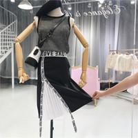 damas chalecos blancos al por mayor-Faldas de dos piezas para mujer Lady 2018 Summer Nuevo chaleco de punto sin mangas + Negro Falda de cintura alta para mujeres de alta costura