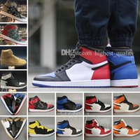 Wholesale Mens Toe - OG 1 top 3 Gold mens basketball shoes sneakers sports Banned Bred Chicago White Black Toe UNC Royal Fragment Wheat Camo Shattered Backboard