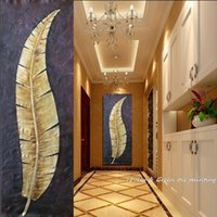 Wholesale original digital art online - 100 Original Handpainted Golden Leaves Modern Oil Painting On Canvas Wall Art Wall Pictures For Living Room Home Decor
