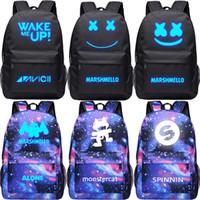 Wholesale dj canvas - Luminous backpack Casual DJ marshmello Backpack Shoulder Bag Canvas Knapsack Schoolbag Bookbag New Free shipping