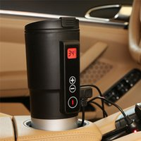 Wholesale stainless steel electric heating cup resale online - DHL Car Boiling Mug Heated Travel Mug Coffee Tea Milk Electric Heating cup Smart Temperature Control