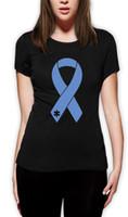 печатные ленты оптовых-Женская тройник аутизм осведомленность - Большая Голубая лента осветить его синий женщины Майка поддержка пользовательских печати случайные О-образным вырезом топ тройник 100% хлопок