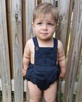 ingrosso tuta di tuta blu profonda-2018 Estate Moda neonato Pagliaccetto Pagliaccetto Deep Blue Suspender tuta in cotone Outfits 0-18M