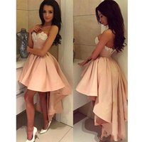 Wholesale Low Back Club Dress - 2018 Custom Made Empire Pearl Pink Homecoming Dresses Sleeveless Satin Sweetheart Neckline Hi-Low Cocktail Party Dresses