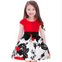 modelos flor menina vestidos venda por atacado-Princesa Patchwork Vestidos para Anos de Idade Meninas 2019 Nova Flor Imprimir Arco Mangas Curtas Crianças Vestido Modelo Imagem Preço de Fábrica