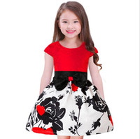 görüntüler yaylar toptan satış-Yaşında Kızlar için Patchwork Prenses Elbiseler 2019 Yeni Çiçek Baskı Yay Kısa Kollu Çocuk Elbise Modeli Görüntü Fabrika Fiyat