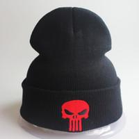 schwarze schädelmütze der männer großhandel-Designer-Schädel-Stickerei-Mützen-Hut-Mann-Frauen-Hip-Hop-Acryl stricken Winter-Kappen-Hüte für Erwachsene Mens-Frauen-schwarzer Slouchy-Schnee-Kopf wärmer