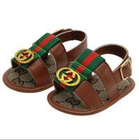 ingrosso sandali estivi dei ragazzi dei bambini-Scarpe estive per bambini PU Scarpe per bambini appena nate Cartone animato per prime camminatore Scarpe antiscivolo per bambini