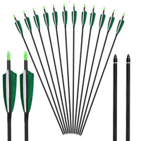 Wholesale hunt bow for sale - Group buy Carbon Arrows Natual Feather Fletchings for Compound Recurve Bows Hunting Practice Archery Hunting Arrow Screw in Tips Outdoor Sports