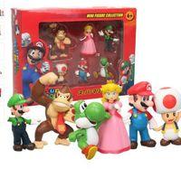 ingrosso yoshi luigi-6 pz 1 set Mario Luigi Yoshi Action Figures PVC Super Mario Bros Figure Set Bambole Giocattoli Yoshi King Kong Toad Action Figure KKA5886