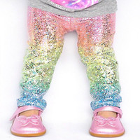 Wholesale Rainbow Pencils - Cute Rainbow sequin Skinny girls leggings Toddler baby kids Pencil Pants Trousers sparkle Unicorn leggings Tights