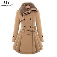 Wholesale Woolen Jackets For Women - Wholesale-keaiyouhuo 2017 Autumn Winter Woman Long Wool Coat For Women Jackets Female Fur Collar Double-Breasted Long Sleeve Woolen Coats