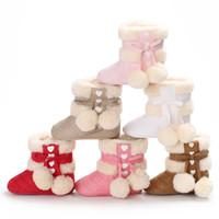 Wholesale soft soled toddler boots online - Winter Sweet Warm Newborn Baby Girls Princess Winter Boots First Walkers Soft Soled Infant Toddler Kids Girl Footwear Shoes