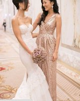 Wholesale cheap bling dresses - Bling Rose Gold V Neck Sequined Maid of Honor Dresses Backless Plus Size Long Beach Bridesmaid Bridal Party Evening Gowns 2018 Custom cheap